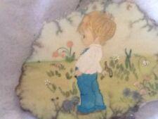 Vintage Painting on Slate, Boy Standing in field 1970's -slight damage Miniature