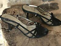 Anne Klein Kitten Heel Black Satin Sandals Shoes 8 M - Made in Italy
