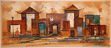 Mid Century Cubist Landscape Painting w Figures Watercolor Gouache by Barios