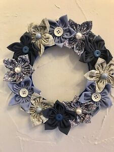 Handcrafted Flowers Door Wreath. Blue fabrics.