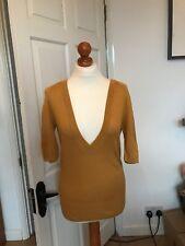 Monsoon Womens Linen Blend Jumper Top  Size 8 Yellow Ochre / Mustard 3/4 sleeves