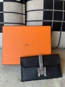 100% Authentic Hermes Portefeuille Mini Jige Duo Touch Veau Swift/Lezard Clutch