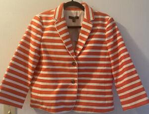 New Anne Taylor Orange And White Striped Blazer Size 10P