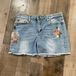 Joe's Jeans Blue Denim Girls Size 16 Floral Embroidered Casual Cut-Off Shorts