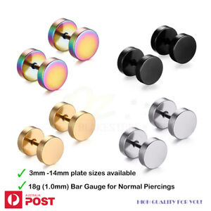 1Pair Earrings Fake Stretchers Surgical Steel Normal Ear Piercing Body Jewellery
