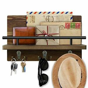 Wooden Key Holder for Wall Mail Shelf Sorter Organizer Wall Mounted with 3 Do...