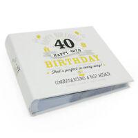 "Happy 40th Birthday Photo Album - Holds 80  6"" x 4"" photos FL29940"