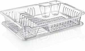 Hobby Clear Plastic Dish Drainer Plate and Cutlery Rack with Drip Tray