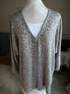 C.D.D. Women Plus Size 2X Tan White Rhinestones 3/4 Sleeve Sweater Tunic Shirt