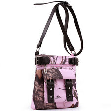 PINK BLACK MOSSY OAK CAMO CAMOUFLAGE WESTERN PURSE MESSENGER CROSS BODY BAG