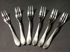 WELLNER, 6 Kuchengabeln,Mod. 275, Jugendstil, 90er Silber, top