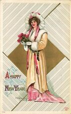 R Ford Harper Signed Artist New Year Postcard Beautiful Woman w/ Roses used 1912