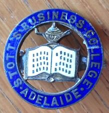 Stotts Business College Adelaide Pin Badge Rare School Original Some Wear (D2)