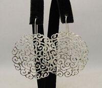 New Sterling Silver Earrings Solid 925 Big Filigree Flower Handmade Empress