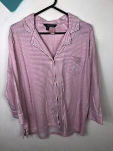 Ralph Lauren Pyjama Top In Pink Stripe Size Large