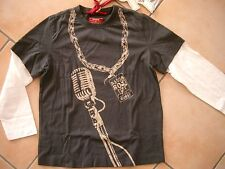 (90) RARE-The Kid Boys Langarm Shirt 2 in 1 Optik mit Logo & Rock Druck gr.92