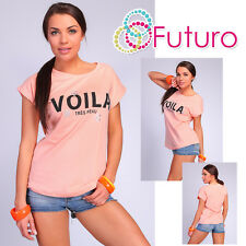 Casual T-Shirt Voila Print Short Sleeve Party Cotton Top Tunic Sizes 8-14 FB123