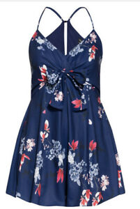 CITY CHIC - Lotus Love Floral Blue Playsuit Size XL/22/Plus Size/Sexy/Flattering
