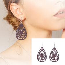 1Pair Fashion Women Wooden Brown Hollow African Hook Earrings Pendant Jewelry