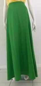 Authentic Vintage 1970's Flower Power Era Bright Green Maxi Skirt