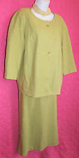 LARRY LEVINE Lime Green Linen Rayon Suit Sz 16W Pencil Skirt + Jacket Lined CHIC