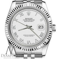 Classic Men's Rolex 36mm Datejust White Color Roman Numeral Dial Steel Watch