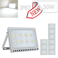 10 Set Slim 50W Led Flood Light Cool White Outdoor Street Security Lamp Fixtures