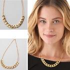 Fashion Aluminium Alloy Light Gold Chunky ID Curb Chain Link Bib Choker Necklace