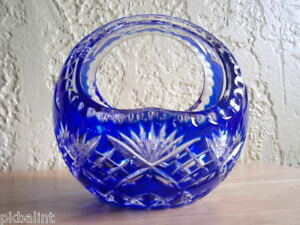 Cut To Clear Blue Crystal Basket Excellent Condition