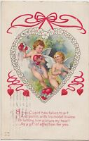 VALENTINE'S DAY Love Postcard Holiday Greetings 1914 CUPIDS Hearts Gift 163