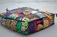Indian Patchwork Large Floor Ottoman Pouf Cushion Pillow Cover Square Pet Black