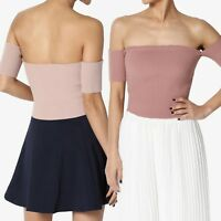 TheMogan Off Shoulder Short Sleeve Stretch Ribbed Knit Fitted Crop Top