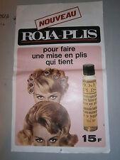 Affiche publicitaire coiffure Roja Plis avec timbre fiscal Belgique an 1967