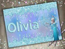 Personalised Disney Frozen 2 Elsa A4 Laminated Kids Placemat Play Name Princess