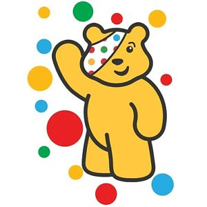 CHILDREN IN NEED SPOTS WAVING PUDSEY BEAR - IRON ON TSHIRT TRANSFERS - A6 A5 A4