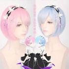 Re:Zero kara Hajimeru Isekai Seikatsu Rem Wig Ram Wig Blue Pink Cosplay Wig