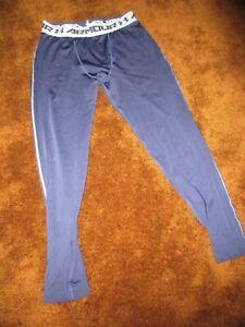 Under Armour HeatGear men's size XL, navy blue compression leggings