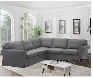 IKEA Ektorp 4 Seat Sectional Slipcover Nordvalla DarkGray Corner Sofa Cover Sale