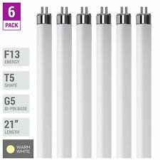 """6 Pack F13T5 WW 30K Tube 21"""" Inches 13W Watt Mini Bi 2-Pin G5 3000K Warm White"""