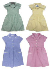 Girls School Dress Summer Gingham Blue Red Yellow Green 3-4 to 11-12 years