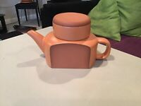 Paul Eshelman Modernist Studio Pottery Stoneware Orange Glaze Teapot SIGNED