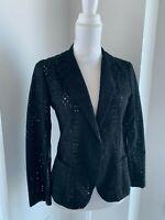 Nanette Lepore Black Eyelet & Stripe Jacket Blazer SZ 6 S