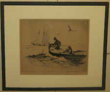 RARE Vintage GORDON GRANT Fisherman Pulling the Nets SAILBOAT ETCHING - Listed