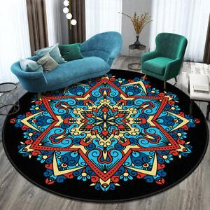 12 Color Round Rug Bohemia Non-Slip Floor Mat Carpet Mandala Soft Home Room Deco