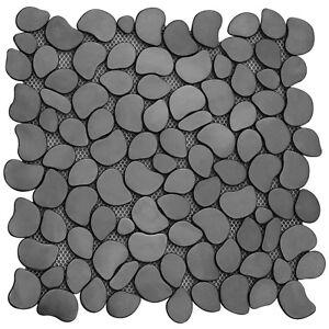 Brushed Stainless Steel Black River Rock Pebble Tile Backsplash Shower Floor