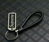 Brand New Supreme Leather Keychain Collection ( New) black color made in Italy