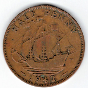 1942 Great Britain Half Cent  ~ YOU GRADE IT ~ PLEASE SEE THE SCAN    stk 2