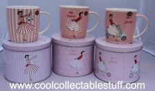 Pink Vintage Retro Design Mrs Smith Fine China Gift Mugs in Tin - Set of 3 - New