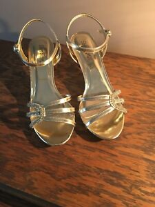 Silver Slipper Womens Gold Rhinestone High Heel Shoes Size 8 Formal Wedding NIB