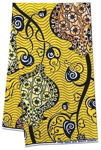African Fabric Beautiful Design Yellow BG Wax Print Sewing Crafts Sold Per Yard